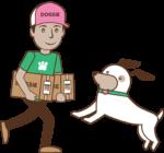 Pošťák nesoucí psovi Dogsie balíček