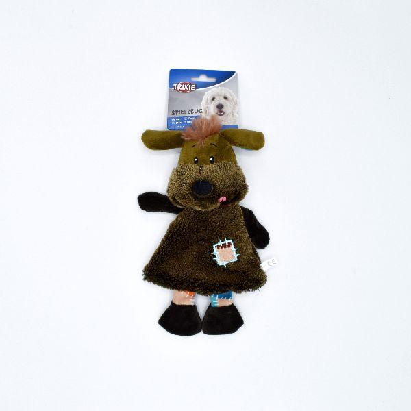 Plyšový pes s chocholkou a záplatou na šatech 28 cm