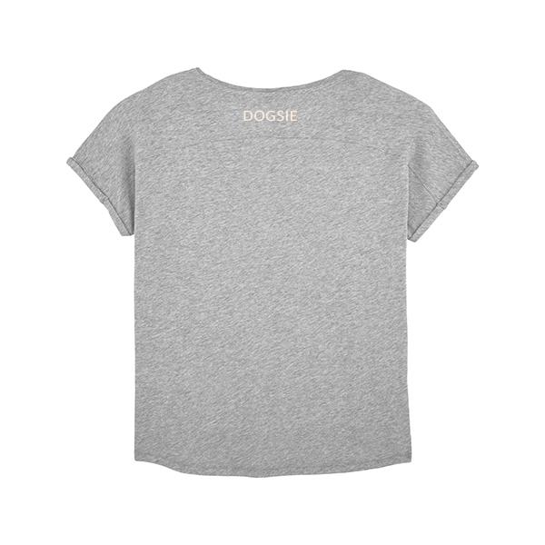Dogsie šedé volné tričko s krátkým rukávem zezadu