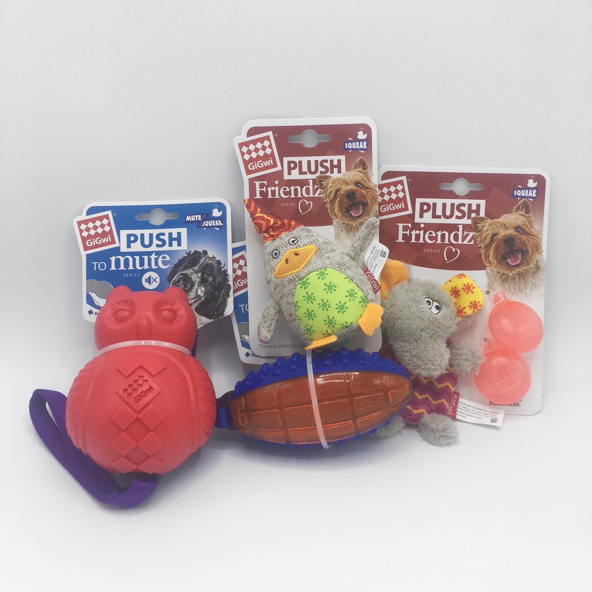 GiGwi hračky - sova, rugby míč, kachna, sloník