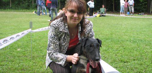 Kateřina Kašparová se psem na Voříškiádě